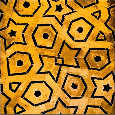 Mustard & Black Geometric Design Greeting Card