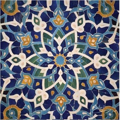 Blue Persian Arabesque Geometric Design Greeting Card