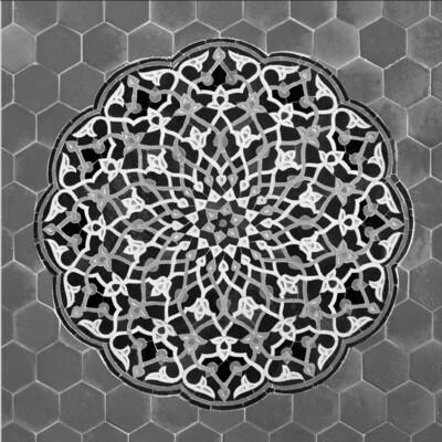 Grey Persian Arabesque Design Greeting Card