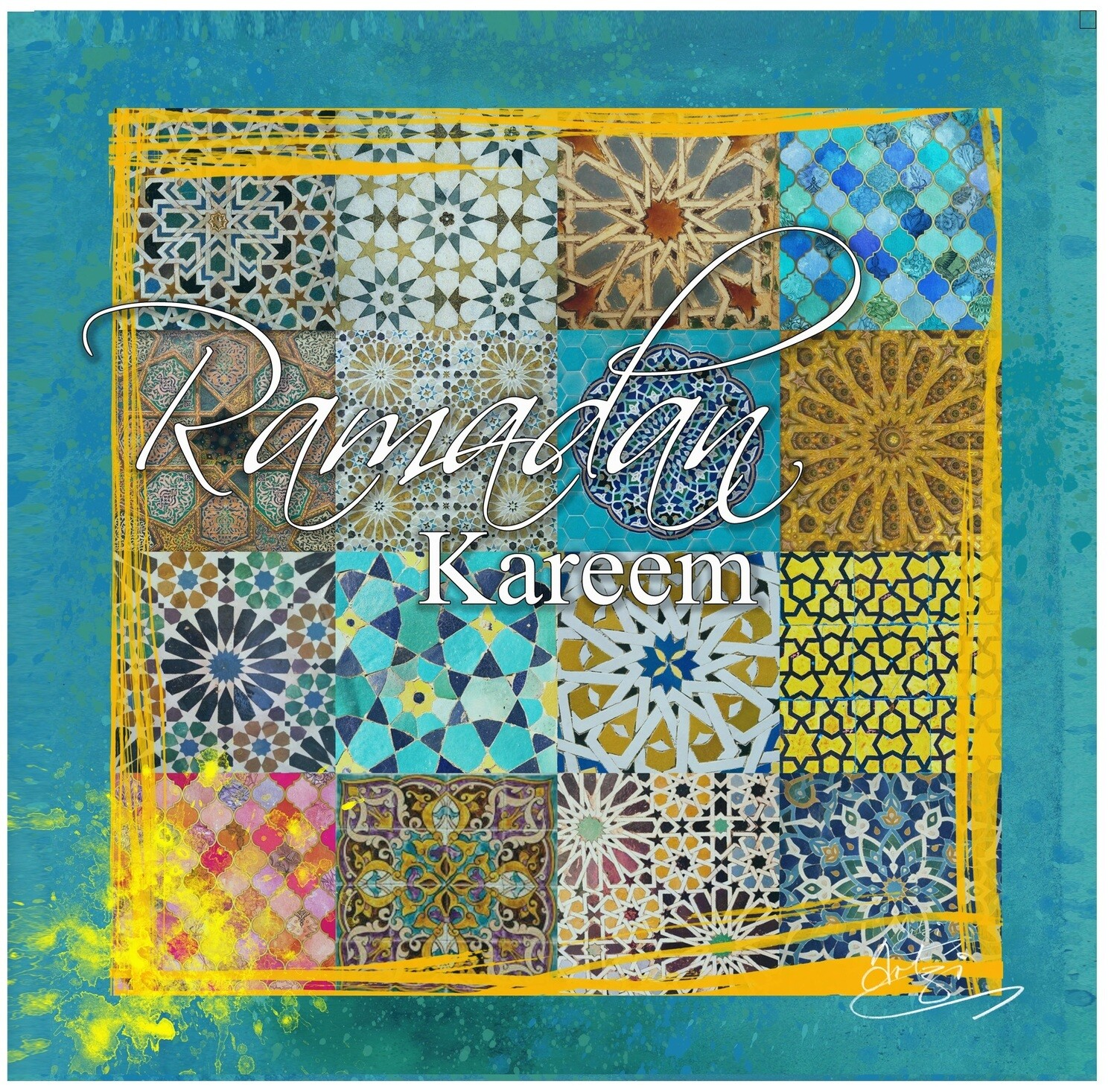 Ramadan Kareem - Patchwork Geometric Collage Greeting Card