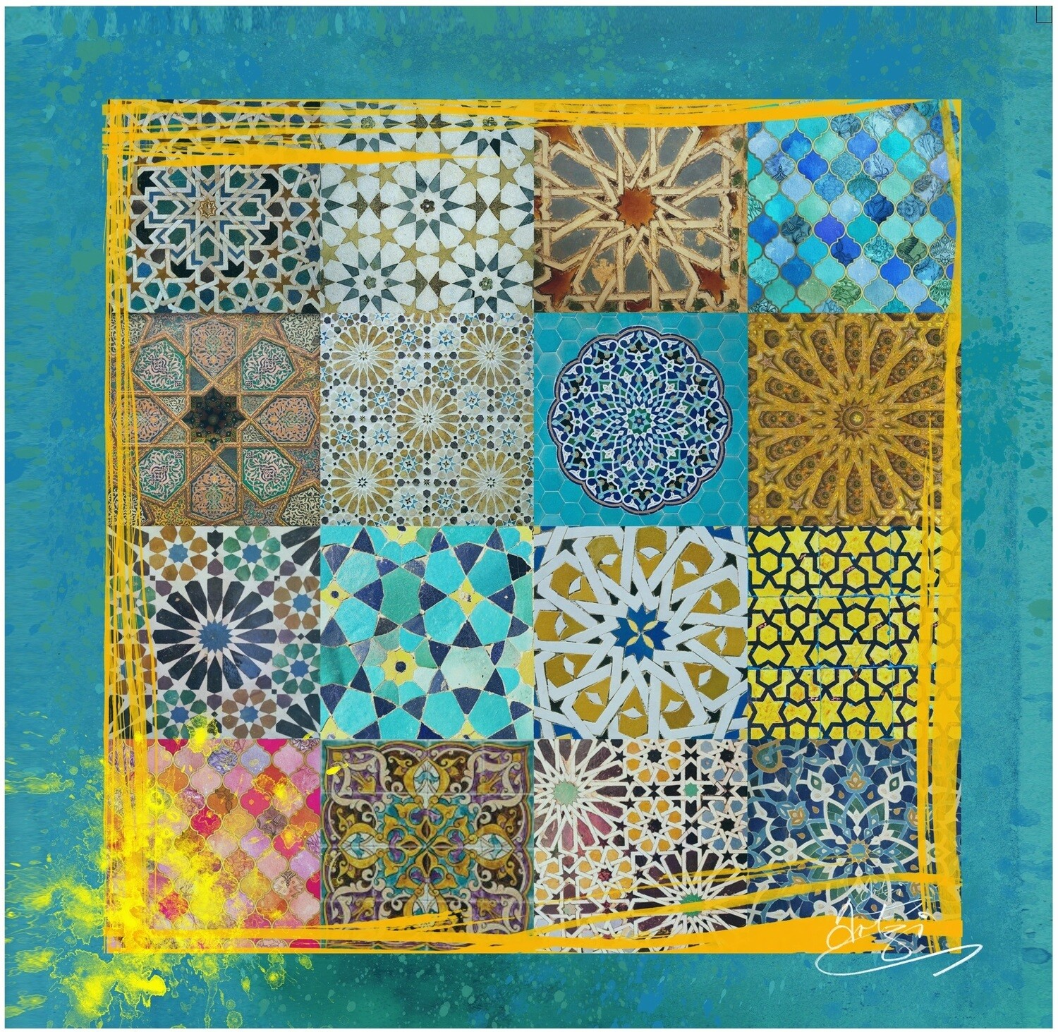 Patchwork Geometric Collage Design Greeting Card