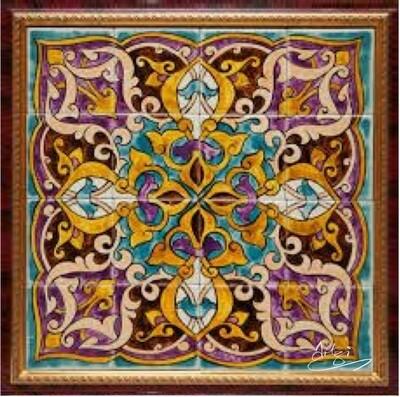 Purple & Turqouise Persian Arabesque Geometric Design Greeting Card