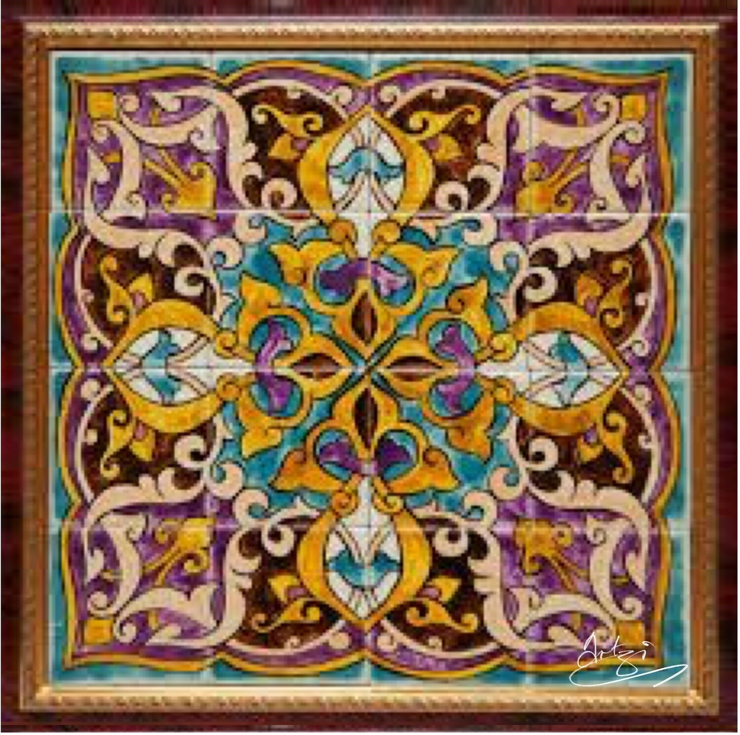 Purple & Turqouise Persian Arabesque Geometric Design Greeting Card