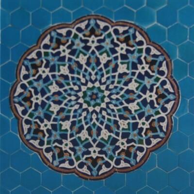 Turqouise Hexagon Persian Arabesque Design Greeting Card