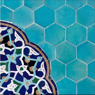 Turqouise Hexagon Persian Geometric Design Greeting Card