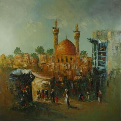 Streets of Baghdad Extra Large Knife Art Textured Multi-Media Canvas