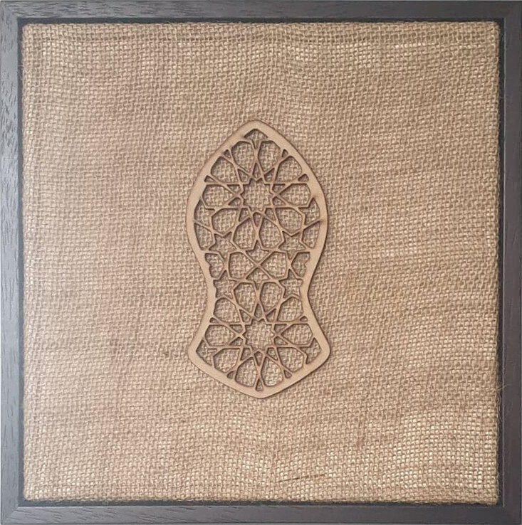 Blessed Sandal (Nalayan) Natural Jute Geometric Design Laser Cut in a White Frame