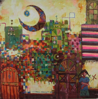 Abstract City Collage Textured Oil Original Hand Painted Canvas