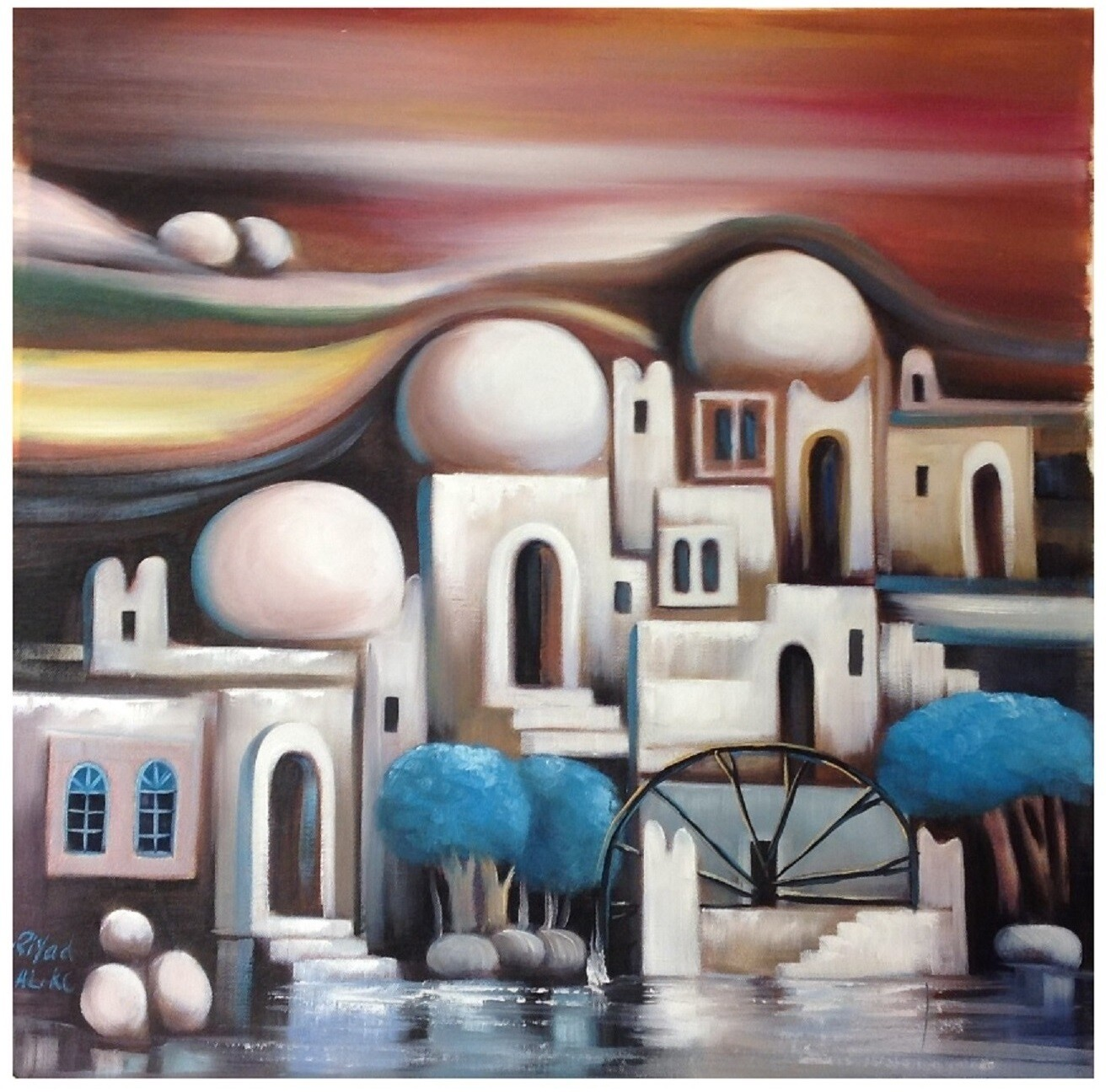 Abstract Houses & Domes Red Design Original Hand Painted Canvas