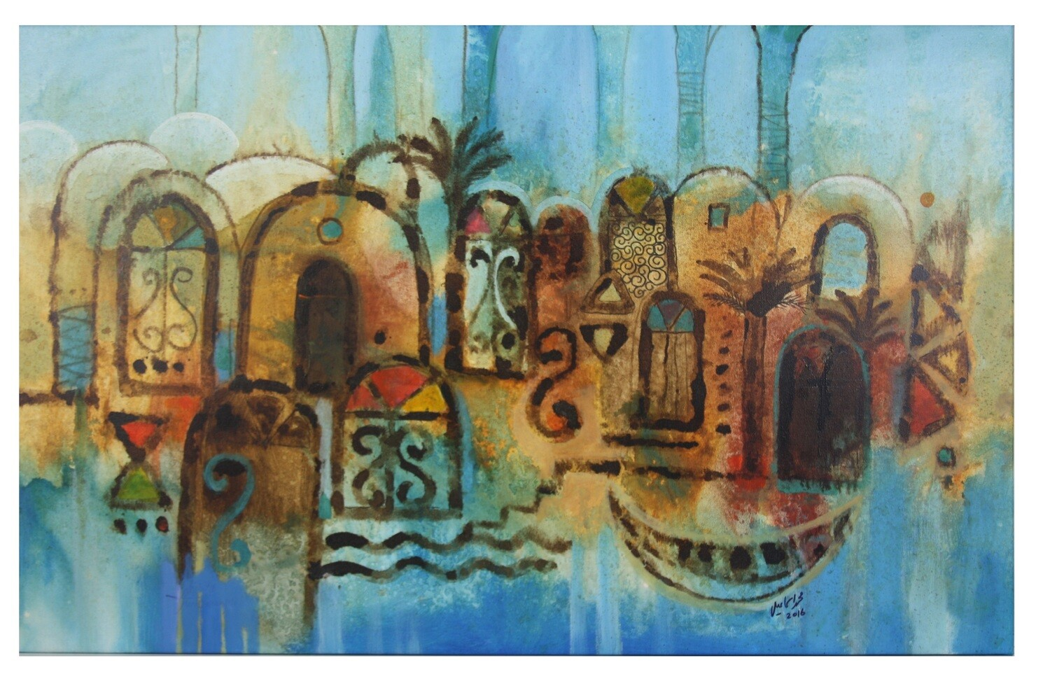 Abstract Domes & Palm Tree Collage Original Hand Painted Canvas