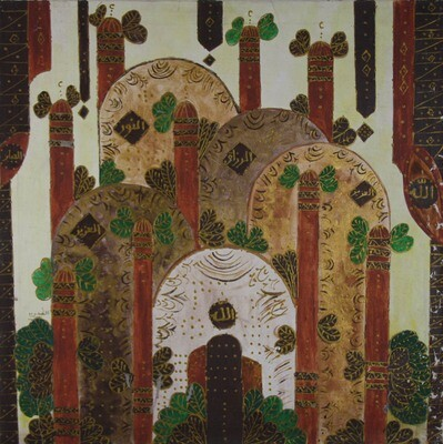 Abstract Domes & Trees Collage Mixed Media Original Hand Painted Canvas