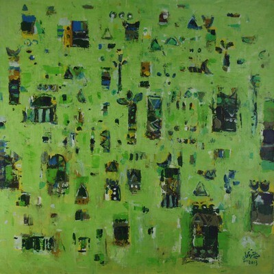 Abstract Village Collage Mixed Media Original Hand Painted Canvas