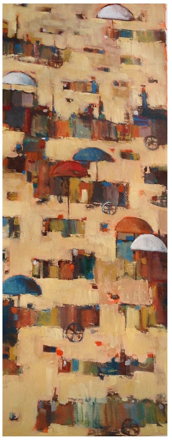 Abstract Village Market Collage Mixed Media Original Hand Painted Canvas