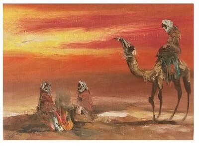 Desert Nomads & Camels Orange Skyline Original Hand Painted Canvas