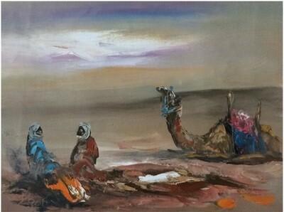 Desert Nomads & Camels Blue Skyline Original Hand Painted Canvas