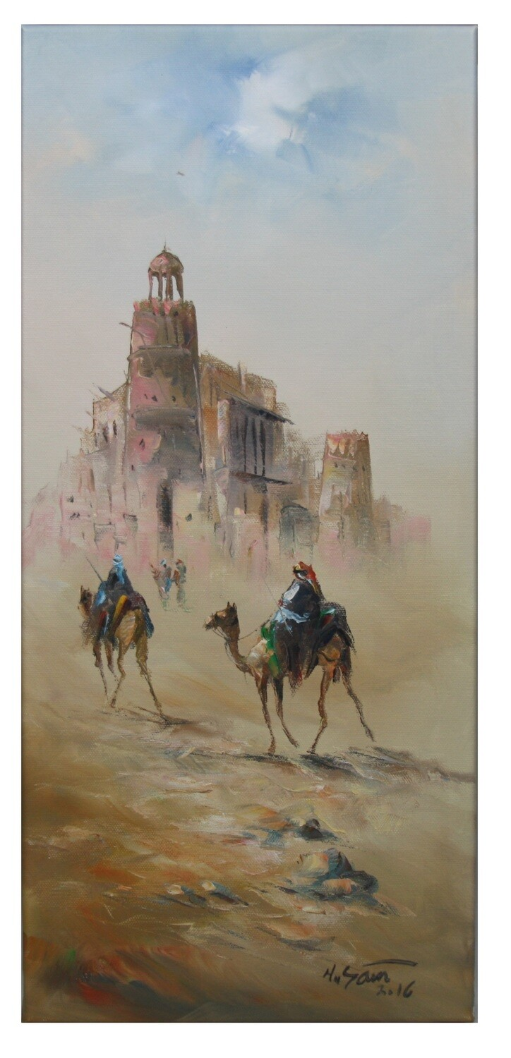 Desert Nomads & Camels Oil painting Original Hand Painted Canvas