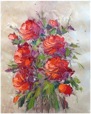 Flowers Oil Painting Red Original Hand Painted Canvas