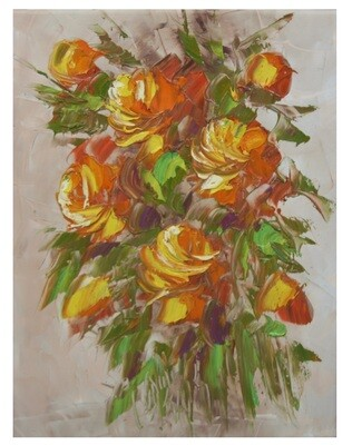 Flowers Oil Painting Yellow Original Hand Painted Canvas