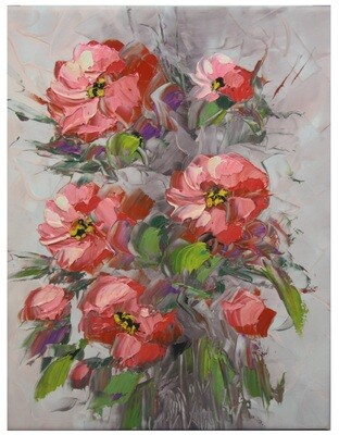 Flowers Oil Painting Pink Original Hand Painted Canvas