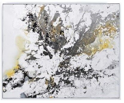 Abstract Grey & Yellow Contemporary High Gloss Oil Painting Canvas