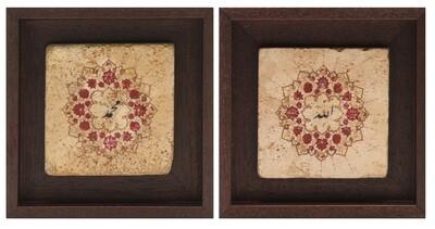 Allah & Mohammed Set/2 Red Floral Design Stone Art