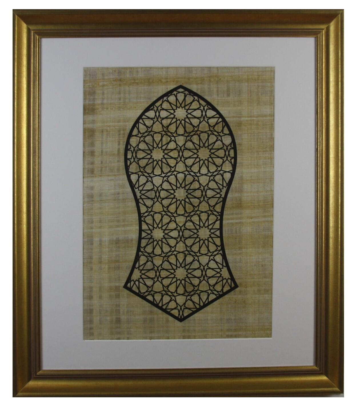 Blessed Sandal (Nalayn) Geometric Design on Papyrus In Gold Frame