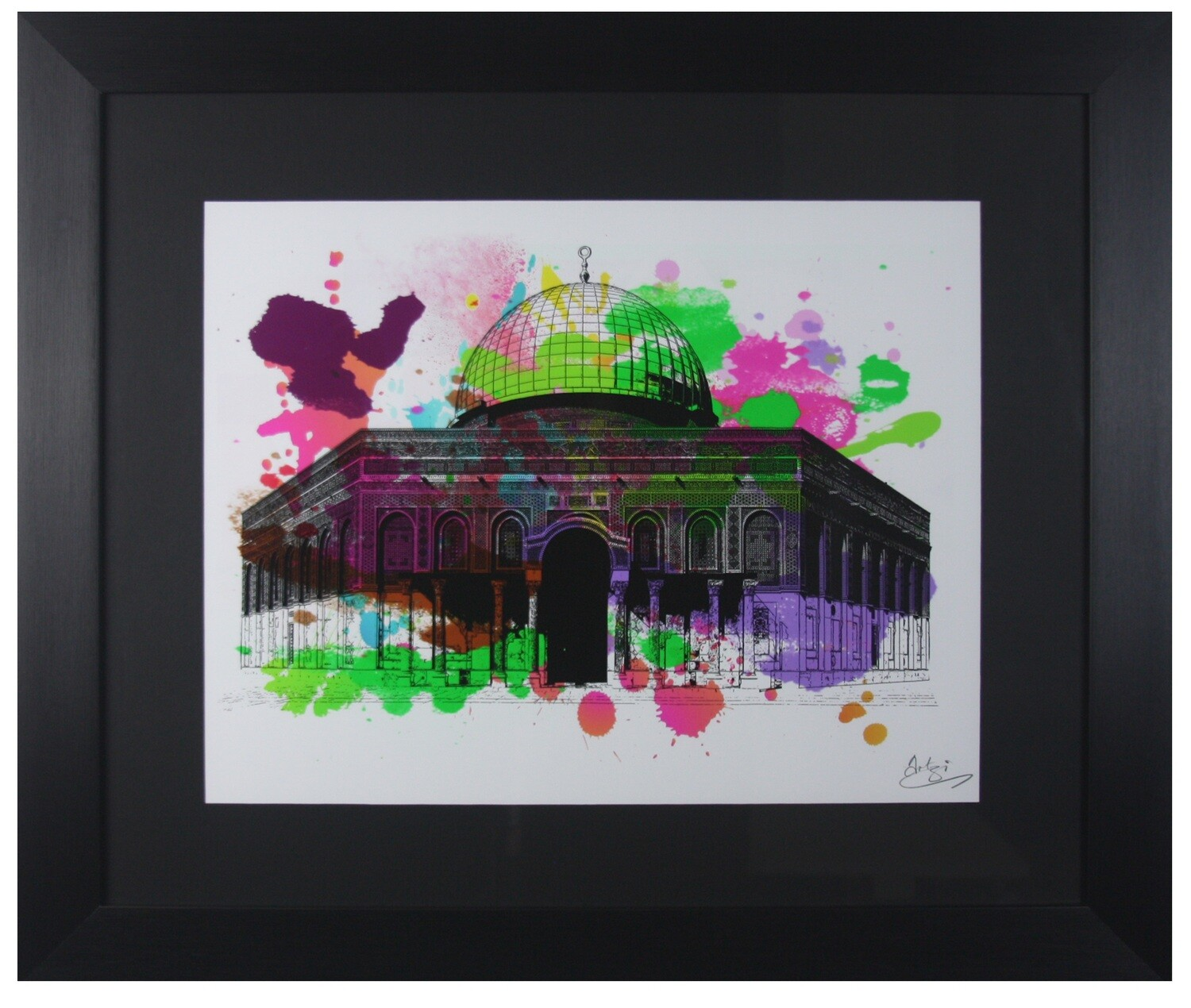 Dome of the Rock Colours of Love in a Black Grain Finish Frame