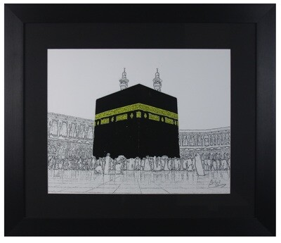 Holy Kaaba Surrounding Emptiness in Black Frame