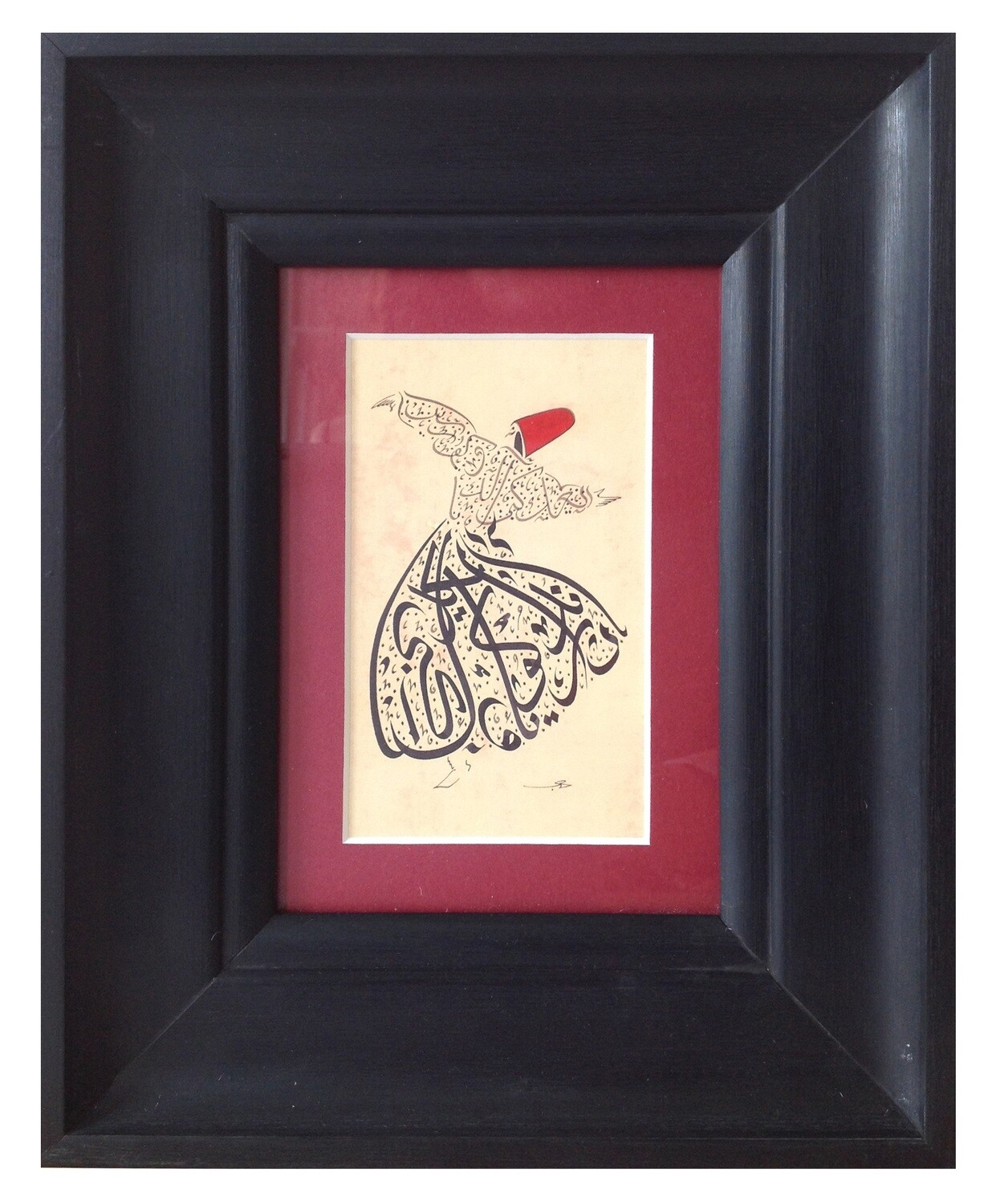 Whirling Dervish Red Rumi Poetry in Black Curved Frame