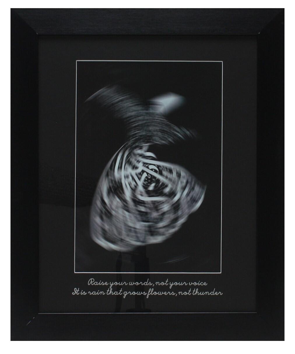Rumi Whirling Dervish White Design in Black Grain Finish