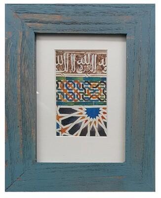 Al-Hambra Geometric Handpainted Design in Blue Distressed Frame