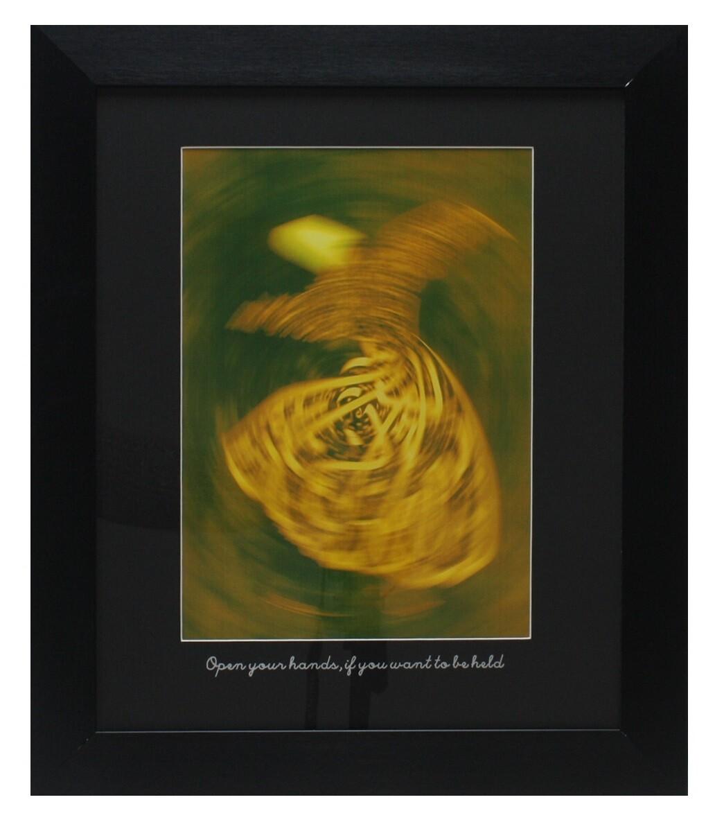 Rumi Whirling Dervish Yellow Design in Black Grain Finish