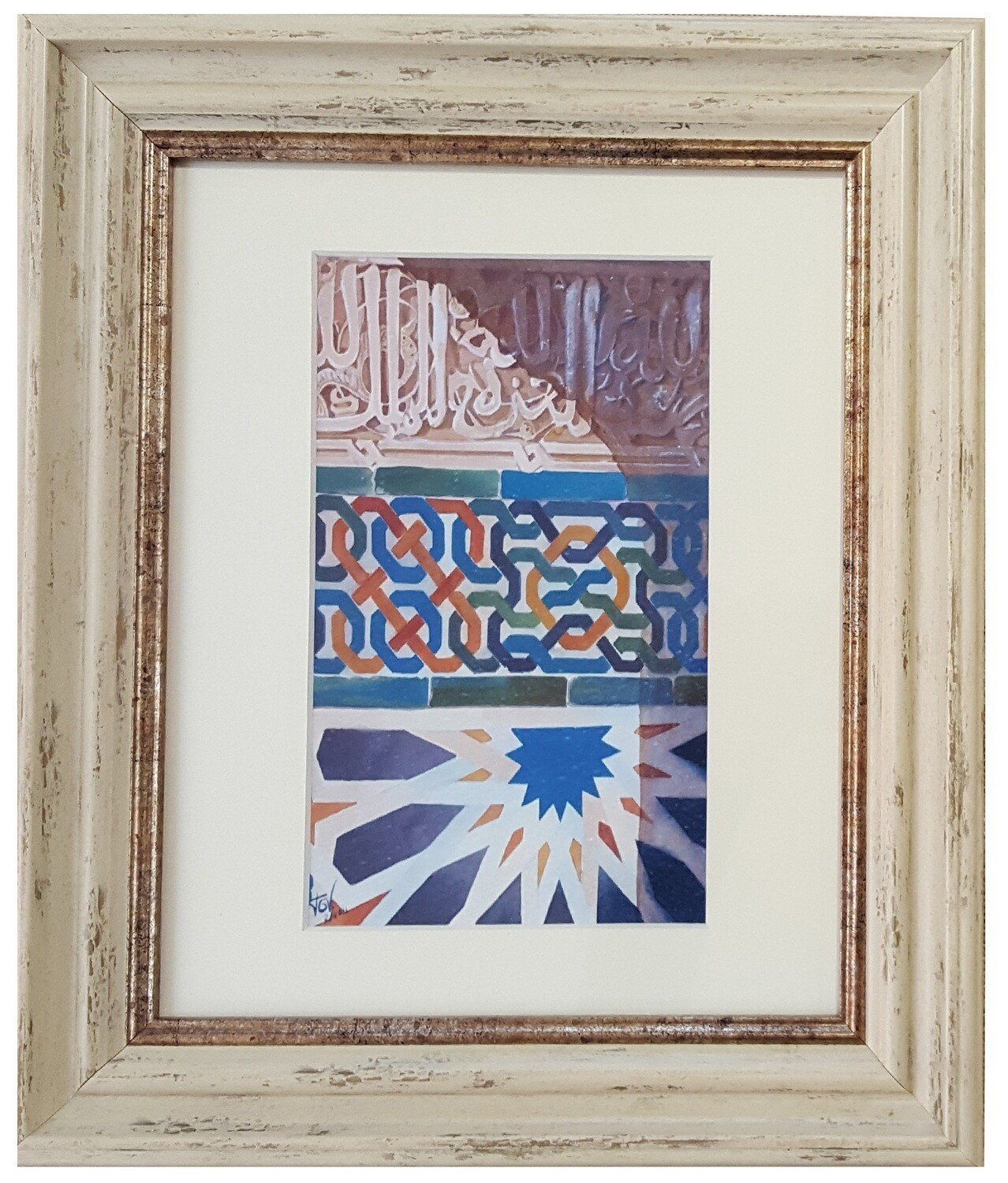 Al-Hambra Geometric Handpainted Design in Cream Distressed Frame