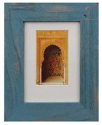 Al-Hambra Doorway Handpainted Design in Blue Distressed Frame