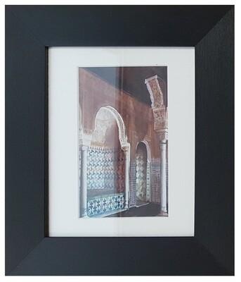 Al-Hambra Doorway Handpainted Design in Black Grain Finish Frame