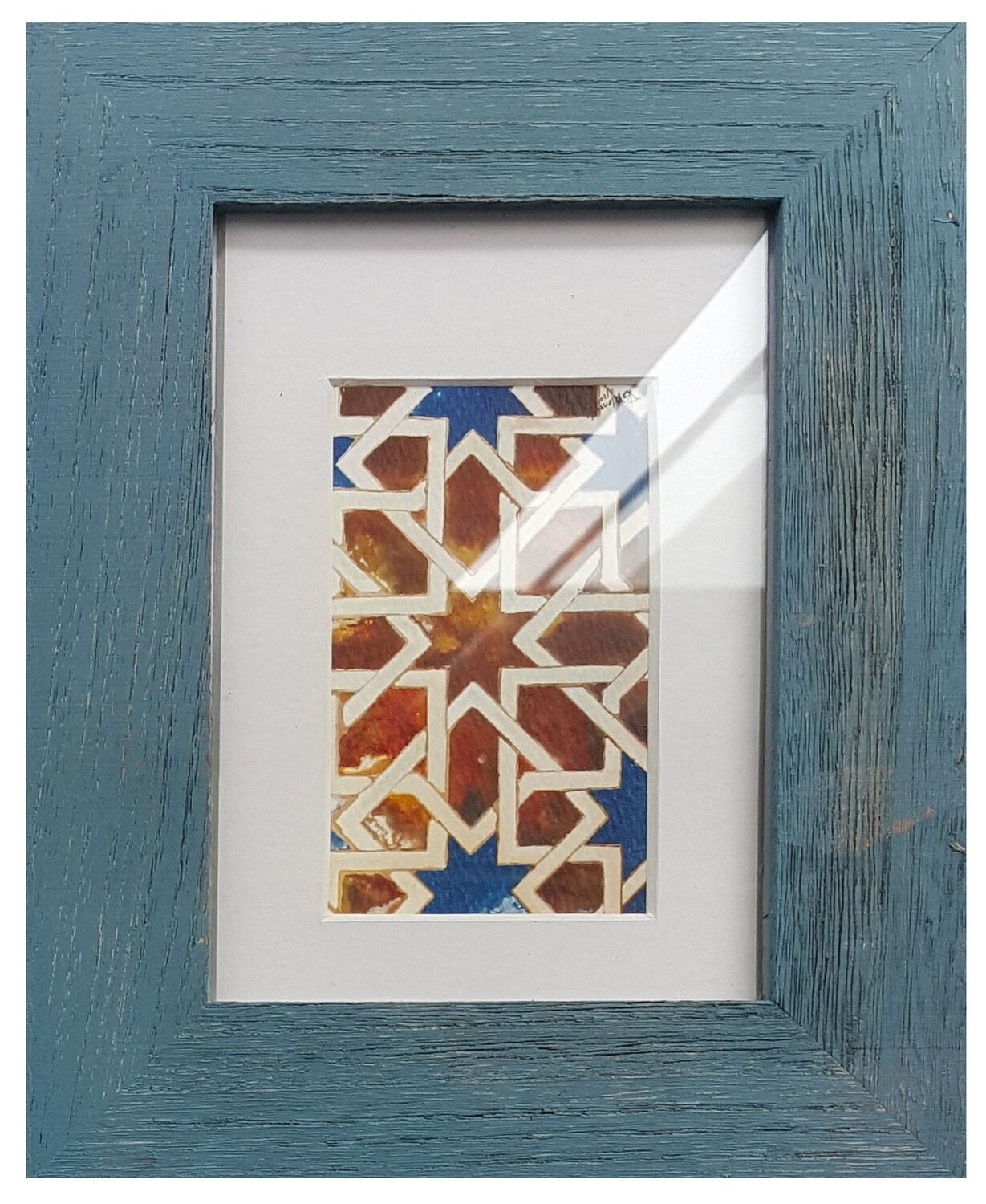 Al-Hambra Geometric Handpainted Design in Blue Distressed Frame