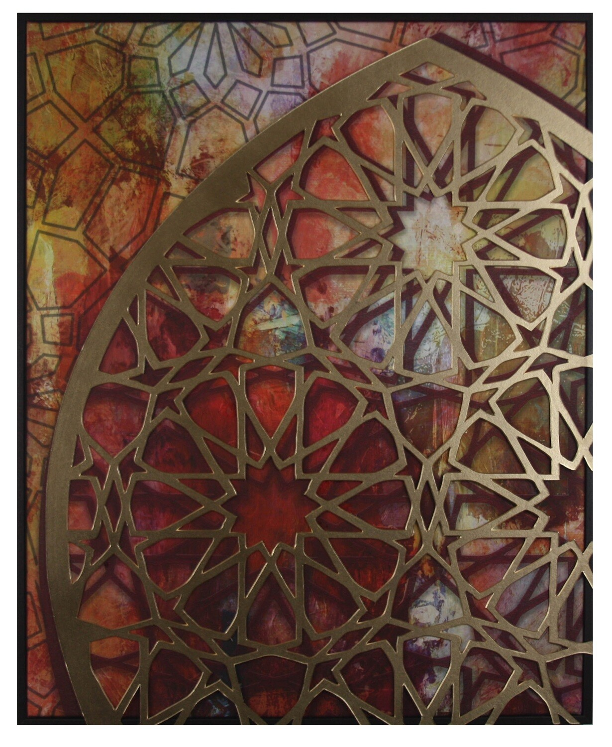 Blessed Arches Gold 3D Geometric Design Canvas in Brown Frame