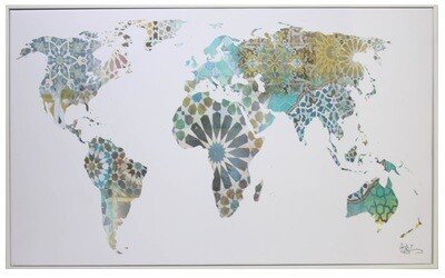 The World Map Geometric Design Original Giclée Canvas