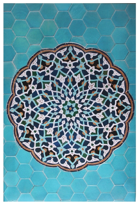 Geometric Turquoise Hexagon Persian Arabesque Design Giclée Canvas