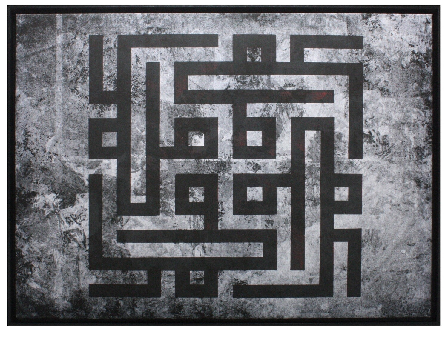 Mohammed Kufic Rotated Abstract Grey/Black Design Original Giclée Canvas