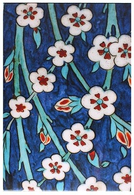 Geometric Iznik Blue Floral Design Giclée Canvas