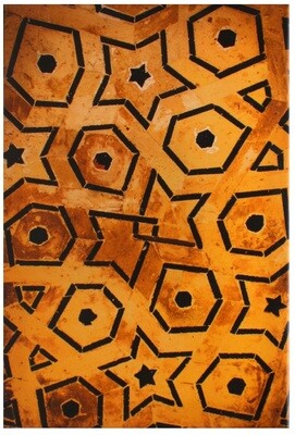 Geometric Mustard & Black Moroccan Art Design Giclée Canvas