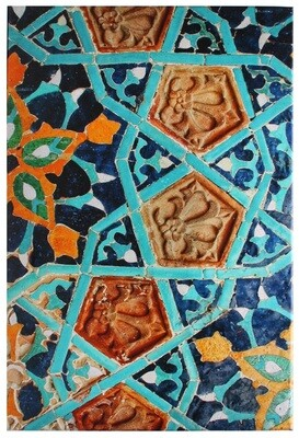 Geometric Blue Moorish Alhambra Tiles Design Giclée Canvas