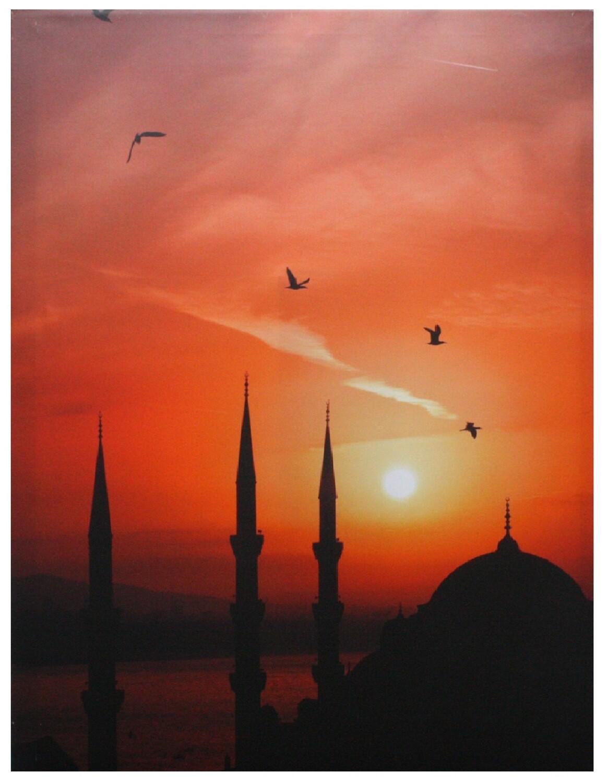 Scenic Istanbul Skyline at Sunset Original Giclée Paint Canvas