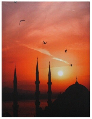 Scenic Istanbul Skyline at Sunset Original Giclée Paint Canvas