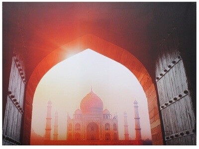 Scenic Taj Mahal through Doors Original Giclée Canvas