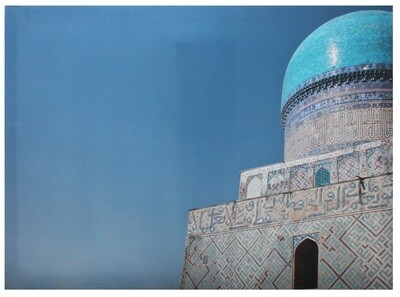 Scenic Turquoise Dome Hexagonal   Samarkand Mosque Original Giclée Canvas