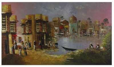 Streets of Baghdad Extra Large Knife Art Textured Multi-Media Hand-painted Canvas