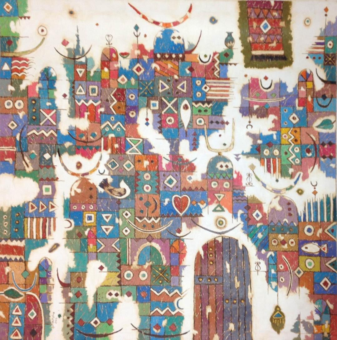 Abstract Aztec Door Collage Original Hand painted Canvas