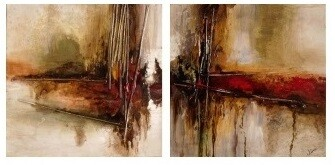 Abstract Crossroads - Set of 2  High Gloss Oil Painting Canvas